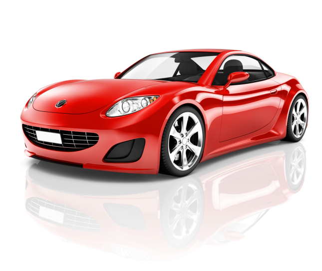 3D Red Sport Car on White Background