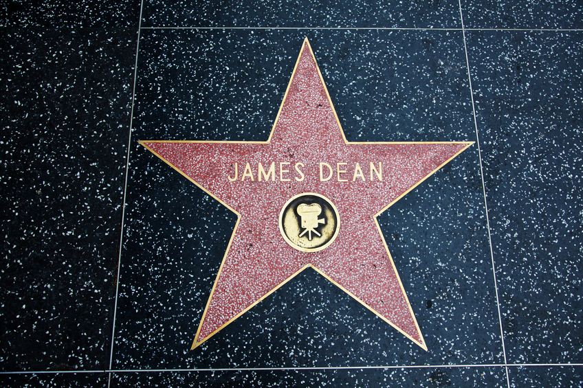 """Hollywood, California, USA - February 5, 2013: Hollywood Walk Of Fame James Dean achievement in the entertainment industry star."""